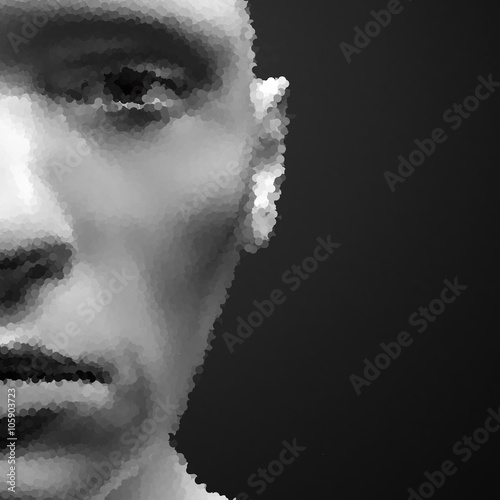 View of Human Head. Stipple Effect. Vector Art. Dot Design. Pointillism Style. Face Scanning. - 105903723