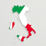 Silhouette of Italy with flag