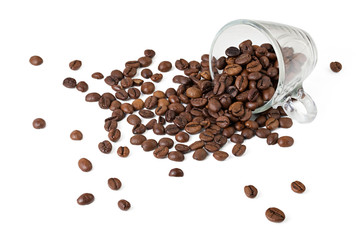 cup with roasted coffee beans on a white background