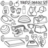 Hand drawn fitness doodle set. Vector illustrations