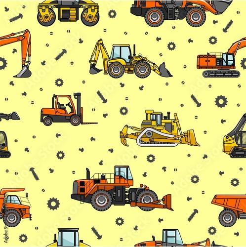 Foto op Plexiglas Op straat Heavy construction and mining machines seamless pattern. Vector illustration.