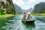 Tourists in boat, Vietnam.