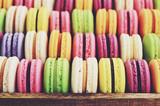 Fototapety Macaroons mix - pistachio, strawberry, blackberry, lavender, vanilla, chocolate, coffee and mint