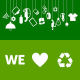 We love to recycle! Waste management banners and illustration for recycling & ecology projects.