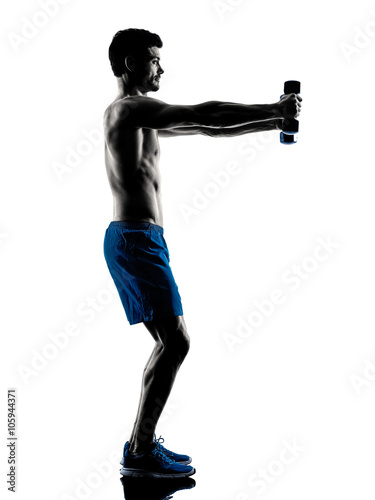 Fototapeta man exercising fitness weights silhouette