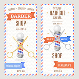 Fototapety Barber Shop Banners Flyers Card. Vector