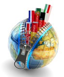 Fototapety Foreign languages learning and translation concept, online translator icon, books with covers in colors of national flags of world countries inside Earth globe with zipper isolated on white