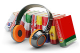 Fototapety Foreign languages learning and translate, communication and education concept, audio books with covers in colors of national flags of world countries and modern headphones isolated on white