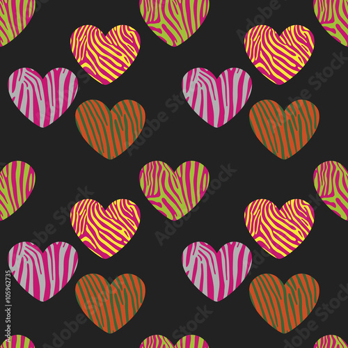 Obraz na Szkle Seamless pattern with heart shapes