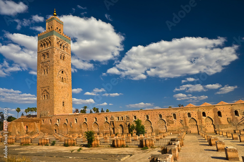 Foto op Plexiglas Marokko Morocco. Marrakech. Mosque of Koutoubia