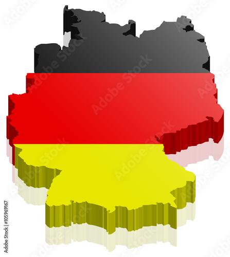 Fototapeta Deutschland Land Karte 3D Design mit Flagge