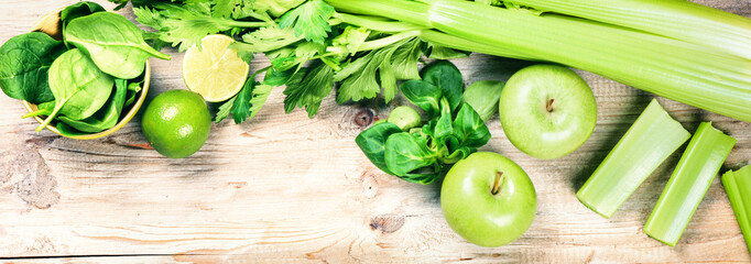 Fresh green vegetables and fruits. Detox and diet concept