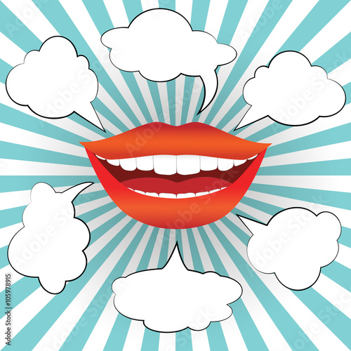 Pop art style smiling woman mouth with different blank speech bubbles