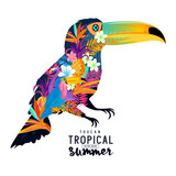 Tropical Summer Toucan. Abstract Toucan bird with various tropical elements. - 105984319