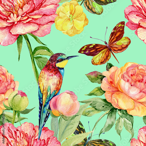 Fototapeta postcard peonies .watercolor flowers,bird ,butterfly