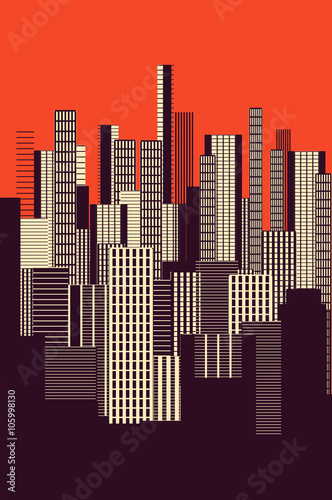 Plakat a three colors graphical abstract urban landscape poster in orange, and brown