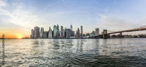 Manhattan Downtown urban view with Brooklyn bridge