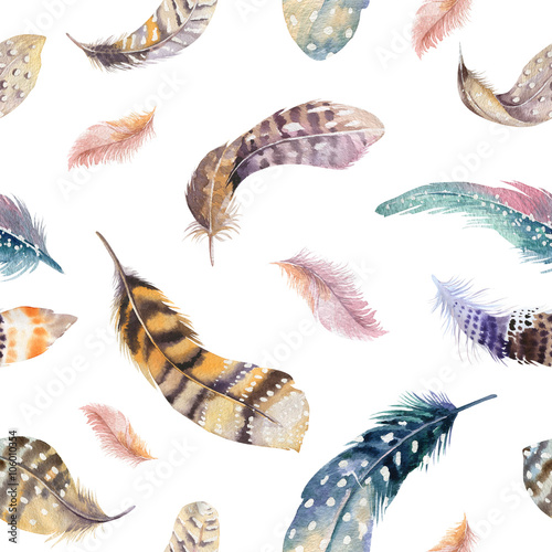 Cotton fabric Feathers repeating pattern. Watercolor background with seamless