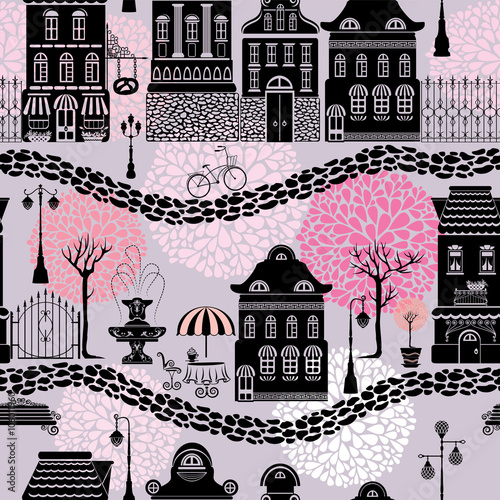 Materiał do szycia Seamless pattern with fairy tale houses, lanterns silhouettes