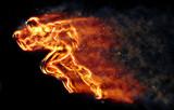 Burning athlete