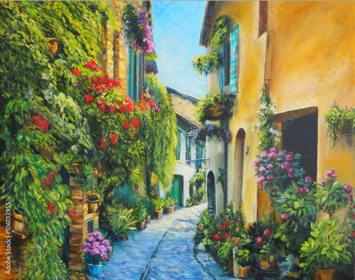 Oil Painting Picture Flower Street in Italy © shvets_tetiana