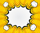 Fototapety abstract boom blank speech bubble pop art, comic book on yellow background