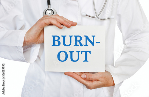 Poster Burn Out card in hands of Medical Doctor
