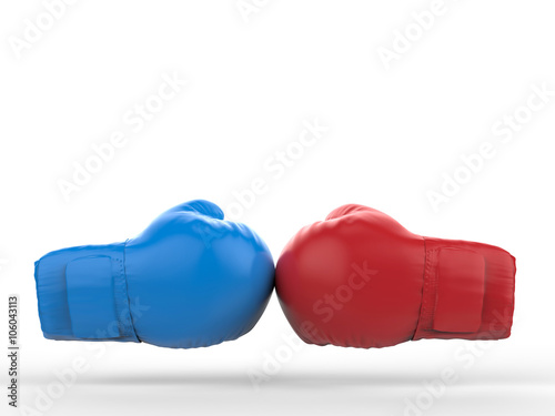 Staande foto Stierenvechten blue and red boxing gloves on white background