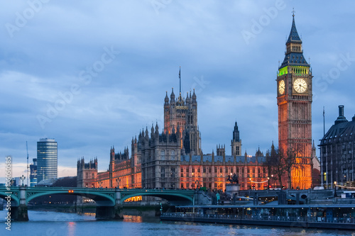 Foto op Canvas Londen Palace of Westminster, Big Ben clock tower and Westminster Bridge in London