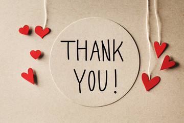 Thank You message with small hearts