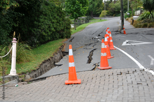 Poster typical road damage from the February 22, 2011 Earthquake in Christchurch, New Z