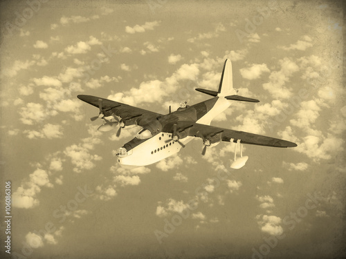 (Artist's recreation) of World War 2 vintage flying boat used by the allies as a scout and bomber Poster