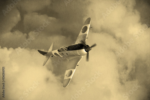 Poster 'Vintage style'  Wolrd War 2 Japanese fighter plane in the clouds
