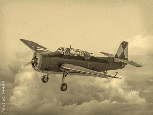 'Vintage Style' image of World of American War 2 Torpedo bomber Poster
