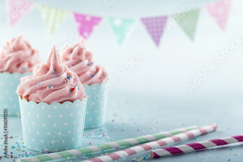 Pink frosted cupcakes Poster