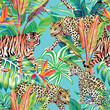 tiger and leopards in the jungle seamless background