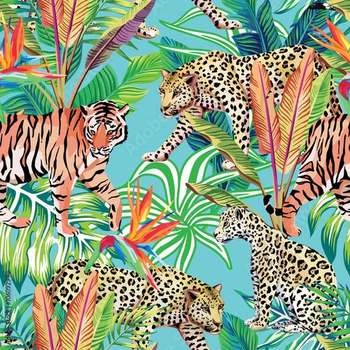 tygrys i lamparty w dżungli bezszwowe tło