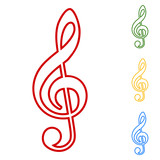 Violine clef line icons set