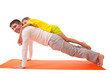 dad practicing yoga with daughter isolated