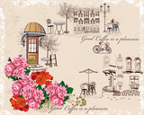 Series of backgrounds decorated with flowers, old town views and street cafes. Hand drawn Vector Illustration
