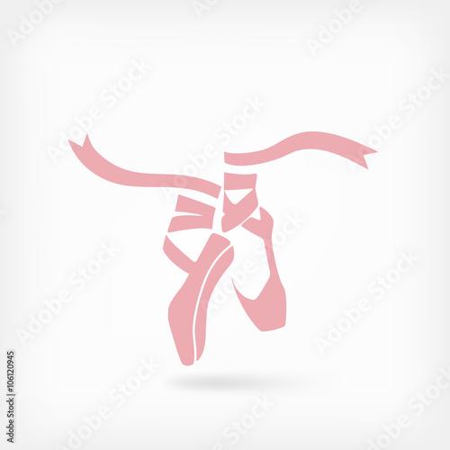 pink ballet pointes. dance studio symbol © natbasil