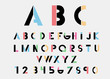 Black alphabetic fonts  with color lines. Vector illustration.