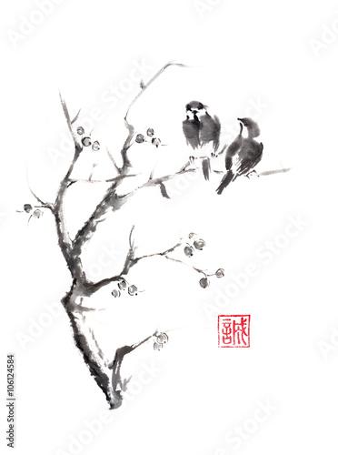 Naklejka Tow birds on tree original sumi-e ink painting.