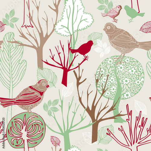 Fototapeta Vintage birds background, fashion seamless pattern