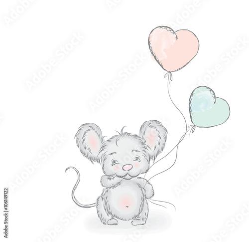 Fototapeta Cute cartoon mouse . Vector illustration. Postcard with a charming little mouse .