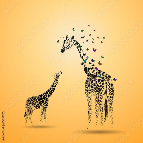 Fototapeta Giraffe with her baby