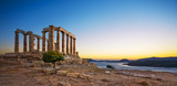 Greece. Cape Sounion - Ruins of an ancient Greek temple of Poseidon after sunset - 106161354