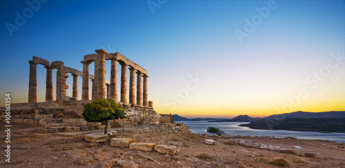 Greece. Cape Sounion - Ruins of an ancient Greek temple of Poseidon after sunset