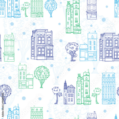 Tapeta Vector Town Houses Trees Streets Blue Green Drawing Seamless Pattern with polka dots. Perfect for travel themed designs products, bags, accessories, luggage, clothing, home decor.