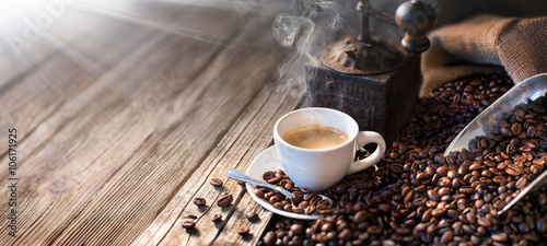 The Good Morning Begins With A Good Coffee - Morning Light Illuminates The Traditional Espresso
